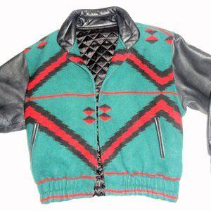 Aztec Indian Blanket Wool Leather Vintage